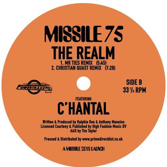 """C'hantal - The Realm (The Remixes) (Missile Records #75)  As already announced I am slowly returning to making music and therefore I am more than thrilled and proud to announce that the pre-sale of my next 12"""" Vinyl release started at deejay.de vinyl mag .de and this time its a remix done for Tim Taylor's label Missile Records for a 90`s classic you all will know: C'hantal - The Realm.  Release Info: 1990 New York techno/house classic by C'hantal , written and produced by Ralphie Dee and Anthony Mannino. Features the unmistakable accapella vocal performance that launched a million raves.  Remixes by Bloody Mary (Dame Records) who fuses her trademark acid and strings with tension created by the looping vocal.  While Mr Ties from Homopatik takes on vocal duties himself with his bizarre drum assault version for the wild at heart.  Christian Quast shreds the original vocal with his captivating and relentless live 909 remix. 'The realm has returned!' Distributed by Prime Direct UK: https://bit.ly/2R1Eday"""